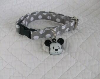 Polka Dot Cat Collar with Boy Mouse  Bell   Breakaway Collar Custom Made