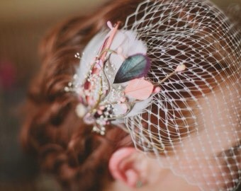 LILIANA Fascinator in Coral Pink, Mauve, and Plum Feathers with Berries, Gold Branch and Vintage Buttons