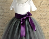 Flower Girl tutu in deep grey and  aubergine tulle with satin waist. Full length tulle skirt.