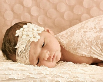 Christening vintage cream or white lace headband with small rhinestones for baby girls.