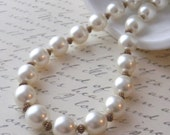 White Ivory Pearl Necklace Chunky Rustic Copper Necklace Short Necklace Wedding Bridal Bridesmaid Mother of the Bride Mother of the Groom