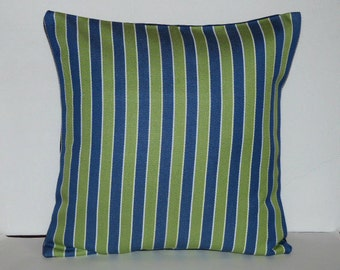 Throw Pillow Decorative Pillow Accent Pillow Cushion Covers Green  Navy Blue White Stripes Indoor/Outdoor 16 x 16