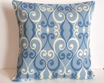 Throw Pillow Decorative Pillow Accent Pillow Cushion Covers Blue Cream Scroll Indoor/Outdoor 16 x 16