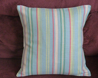 Throw Pillow Decorative Pillow Cover Accent Pillow Cushion Cover Blue Green Beige Red Stripes 16 x 16