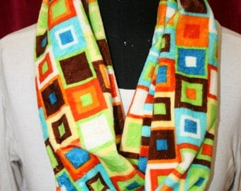 Abstract Squares Infinity Minky  Circle Scarf - Fashion Scarf - Orange Rust Brown Teal Lime White - Fabric - Multicolor - Extremely Soft