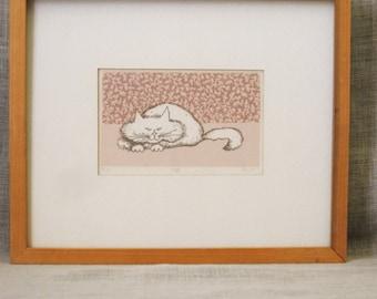Fine Art Print , Cat , Cat Print on Paper , Litho Print , Etching , Original Print , Feline , Fine Art , Art , Furry Kitty , Vintage Art