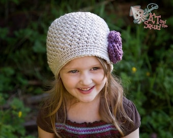 crochet baby hat pattern, easy hat pattern, newborn hat pattern,  hat with flower pattern, Womens crochet hat pattern,girls hat pattern