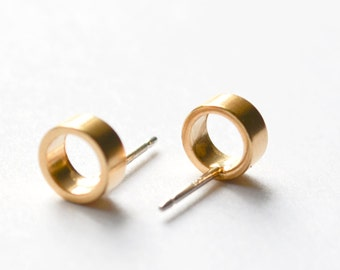 Gold Stud Earrings - Tiny Circle Studs - Lightweight Modern Open Circles - Everyday Gold Hoop Earings - Free Shipping US