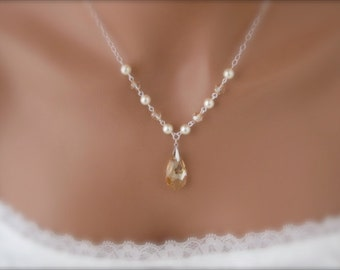 Wedding jewelry Ivory Pearl Necklace Crystal Necklace Bridal Jewelry Ivory