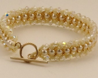 Swarovski Cream Pearl and Crystal AB Bracelet - 17 cm