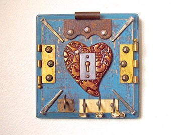 Rustic Steampunk Key To My Heart Vintage Salvage Hardware Mixed Media Wall Art Jewelry Organizer Necklace Hooks Home Decor Gift For Her