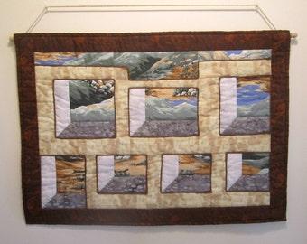 "Quilted Wallhanging ""Desert Mountains"" Art Quilt, Quiltsy Handmade, Mini Quilt, Landscape Quilt, Attic Window Design"
