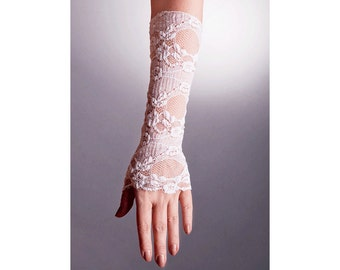WEDDING Lace GLOVES Fingerless in 2 Colors,Lace Wedding Gloves,White Lace Gloves,Ivory Lace Gloves,Long Lace Gloves