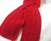 Red Neckwarmer with Slit, Red Keyhole Scarf, Perfect for Valentine's Day, Gift for Wife, Winter Wear, Crochet Ruby Red Scarf, Christmas Gift