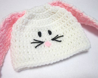 White Bunny Baby Cap MADE TO ORDER, Baby Bunny Beanie Hat, White Bunny Rabbit Baby Cap, Easter Hat, Spring Photo Prop