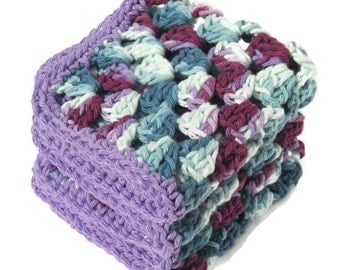 Dishcloths Teal and Purple Crocheted Cotton Dish Cloths or Wash Cloths Large Set of Three