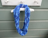 Super Chunky Crocheted Loops Cowl in Shades of Blue
