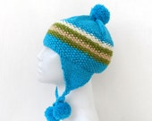 Knit Blue Hat,  Striped Ear flap, Ski Hat, Snowboarding Funky Beanie with Pom Pom