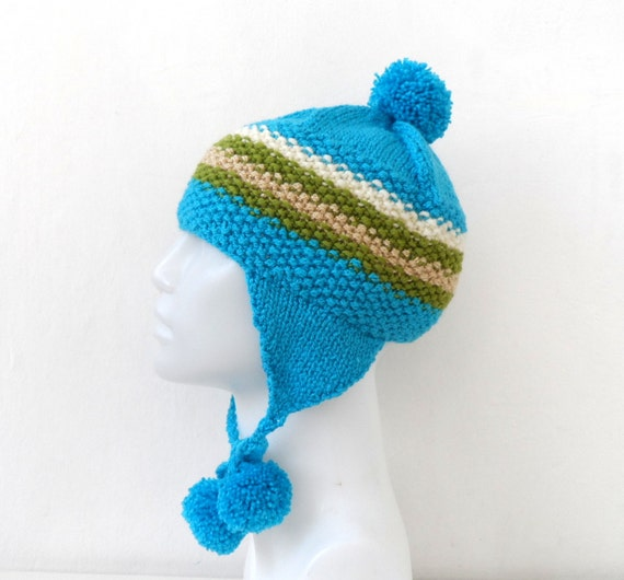 Knit Blue Hat,  Striped Ear flap, Ski Hat, Snowboarding Funky Beanie with Pom Pom