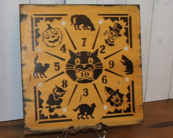 Halloween Game Board/Dime Toss/Penny/Vintage Style/Carnival Style/wood sign handpainted/Halloween Sign