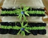Black and Apple Green Wedding Garter Set with Paua Deco