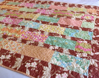 Amy Butler Lap or Baby Quilt-- Midwest Modern -- pink, brown, blue -- pattern also available