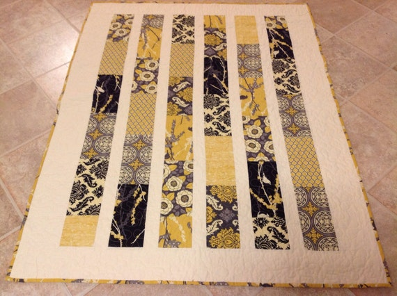 Aviary 2  Lap or Baby Quilt-- yellow, gray -- pattern also available