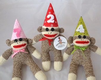 Baby Birthday Sock Monkey Doll, Choice of Hat Color, Cake Topper