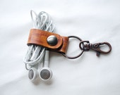 Personalized Leather Key Chain Accessory, Anniversary Gift, Custom Keychain, Wedding Gift, Leather Earbud Holder Keyring