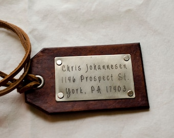 Travel Leather Luggage Tag Custom Leather Tag Personalized