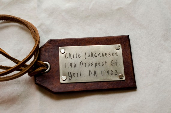 Travel Leather Luggage Tag, Custom Leather Tag, Personalized Luggage Tag, Customizable Hand Carved Leather Luggage Tag