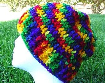 Handmade Crochet Beanie Cap Pink Rainbow Roy G Biv