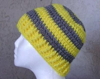 Handmade Crochet Beanie Cap Hat  Yellow Gray Grey
