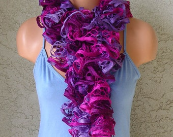 Handmade SRA Knit Knitted Ruffly Pinks, Purples Lavender Scarf