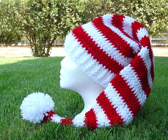 Crochet Pattern Stocking Hat : Crochet Long Stocking Cap Elf Hat Pattern by earthfirestudio