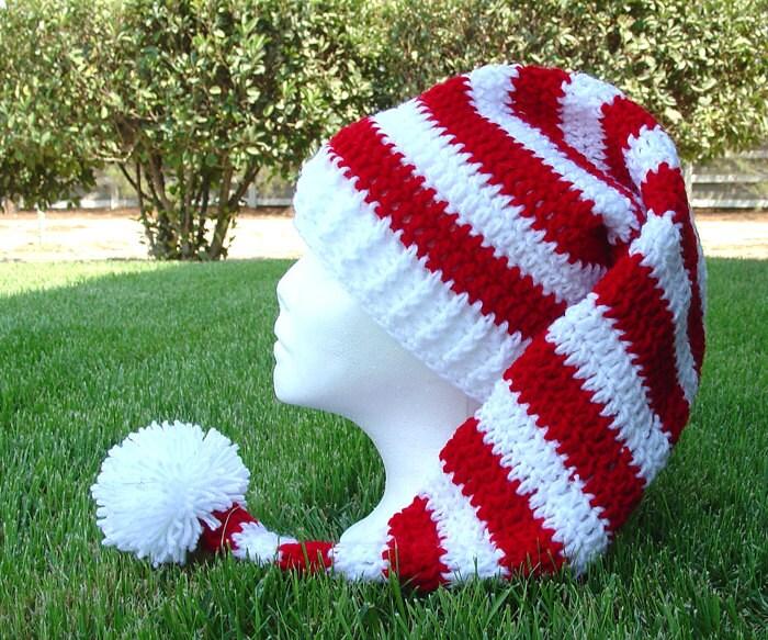 Knit Pattern For Long Hat : Crochet Long Stocking Cap Elf Hat Pattern