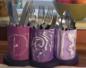 Repurpose SILVERWARE Holder in Old Ceiling Tin