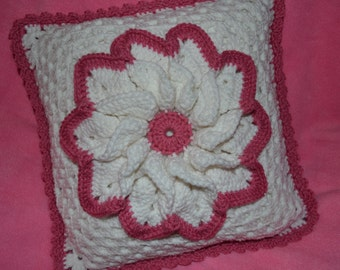 Raspberry and White Flower Pillow