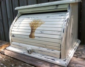bread box white distressed finish with wheat hand painted on front