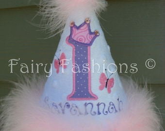 Custom Party Hats..BUTTERFLY PRINCESS party HAT.. any color...any theme...Birthday hat...dress up... Princess hat, first birthday