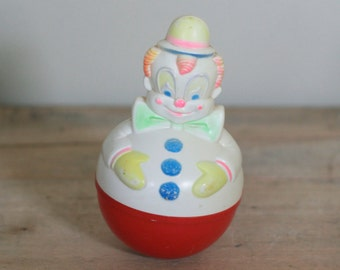 vintage roly poly clown toy by sanitoy 1977