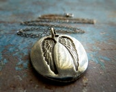 Ask, Believe, Receive. Guardian Angel Wing Necklace. Artisan Handmade Fine Silver Jewelry