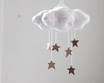 Bronze Star Cloud Mobile- modern fabric sculpture for baby nursery decor in white linen and metallic faux leather- Free US Shipping