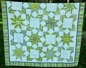 Modern lap quilt in chartreuse, gray and white  65 X 79