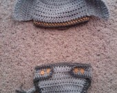 Crochet Baby Elephant Hat and Diaper Cover Set PATTERN