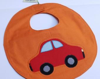 Orange Bib Auto Handcrafted Quilted Child Patchwork Cotton Breakfast Baby Boy