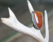 SALE Cocktail Ring, Plume Agate Ring, Size 7.25, Bloody Basin Plume Agate, Large Stone Ring