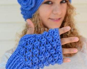 Knitted Hat and Knit Gloves Set, Royal Blue Hat, Slouchy Hat, Beret, Ribbed, Chunky, Beanie, Painter Hat
