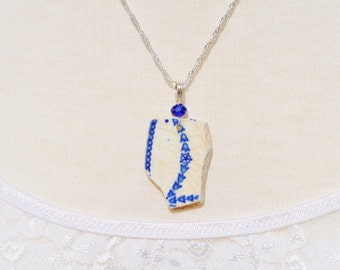 Sea Glass Jewelry Pottery Necklace Blue Patterned with Crystal 1939