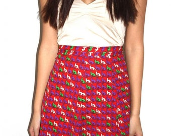 1970s high waisted Kangaroo houndstooth novelty print skirt